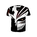 New Stylish Cool 3D Mask Pattern Round Neck Short Sleeve Black Basic T-Shirt