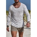 Men's Hot Popular Round Neck Pocket Patched Chest Simple Plain Long Sleeve Cotton T-Shirt