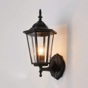 Traditional Lantern Style Wall Lamp Clear Glass 1 Light Wall Mount Fixture in Black Finish for Outdoor