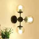 Triple Light Modo Sconce Light Designer Style Glass Shade Art Deco Wall Mount Fixture in Black