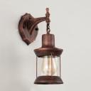 Antique Copper Lantern Wall Light Loft Style Wrought Iron 1 Light Wall Mount Light for Warehouse