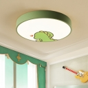 Drum Flush Mount Modern with Cartoon Crocodile Design Baby Kids Room Metal LED Ceiling Light in Green