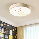 Drum LED Ceiling Lamp with Lovely Cat Design Contemporary Children Bedroom Acrylic Flush Mount in White