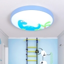 Cartoon Dinosaur Design LED Flush Light with Drum Shade Blue Metallic Ceiling Light for Kindergarten