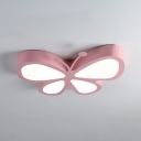 Metal LED Ceiling Lamp with Butterfly Shade Modern Pink/Yellow Flush Mount Light for Kindergarten