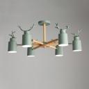 Horn 6 Lights Chandelier with Antler Green Wooden Decorative Hanging Lamp for Children Room