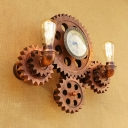 Rust Finish Gear Sconce Light Vintage Metallic 2 Lights Wall Lighting with Clock for Sitting Room