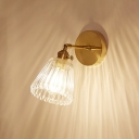 Modern Chic Conical Wall Light Ribbed Glass Single Light Decorative Wall Mount Fixture in Brass