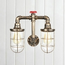 Retro Style Wire Guard Sconce Light Iron 2 Heads Wall Mount Light in Aged Bronze with On/off Switch