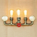 Bronze Finish Water Pipe Sconce Light Retro Style Metallic Triple Head Wall Lamp for Foyer