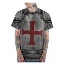 Cool 3D Cross Armour Print Grey Loose Casual T-Shirt