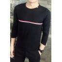 Trendy Striped Webbing Front Men's Basic Round Neck Long Sleeve Slim T-Shirt