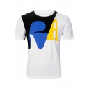 Cool Colorblock Pattern Basic Short Sleeve Comfort Casual T-Shirt