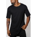 Summer Hip Hop Style Layered Patched Hem Split Side Basic Plain Longline T-Shirt