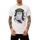 Cute 3D Gorilla Pattern Basic Crewneck Short Sleeve Loose Fit White T-Shirt