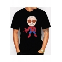 Funny Cartoon Spider Man American Comic Book Writer Pattern Black Short Sleeve T-Shirt