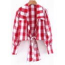 Classic Red Check Printed Long Sleeve Lapel Collar Tied Hem Retro Blouse