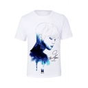 Boy Band White 3D Character Pattern Basic Round Neck Short Sleeve T-Shirt