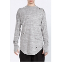 Men's New Fashion Simple Plain Ripped Detail Long Sleeve Grey Longline T-Shirt with Gloves