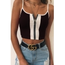 New Stylish Colorblock Zip Closure Front Strap Cropped Slim Cami Top
