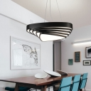 Wrought Iron Triangle Suspended Light Modern Style Matte Black Drop Light for Restaurant Office
