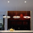 Aluminum Panels LED Hanging Lights Contemporary Single Ceiling Pendant in Chrome/Gold/Red
