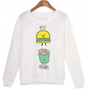 White Letter BEST FRIENDS Cartoon Hamburger French Fries Print Long Sleeve Pullover Sweatshirt