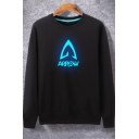 Luminous Arrow Printed Long Sleeve Round Neck Black Hip Hop Style Sweatshirt for Guys