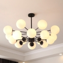 Multi Light Ball Suspended Light Post Modern Cream Glass Large Hanging Light for Living Room