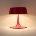 Scarlet Red Drum Shade Table Light Designers Style Metal 3 Light Table Lamp for Office