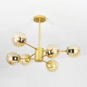 Brown Glass Sphere Suspension Lamp Modern Chic 6 Light Art Deco Hanging Light in Gold