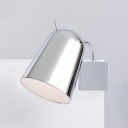 Chrome Finish Dome Wall Sconce Contemporary Modern Steel 1 Head Wall Light for Bedroom
