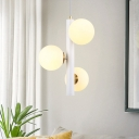 White Ball Shade Pendant Lamp Contemporary Milky Glass Hanging Light for Bedroom