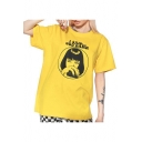Cool Short Sleeve Round Neck Character Letter I SAID COD DAMN Printed Relaxed Unisex Yellow Tee