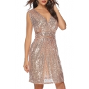 Plunge Neck Sleeveless Plain Sequined Mini A-Line Dress