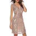 Plunge Neck Sleeveless Plain Sequined Mini A-Line Dress