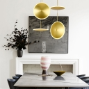 Gold Finish Round Hanging Lamp Post Modern Style Dining Room Acrylic Shade LED Ceiling Pendant