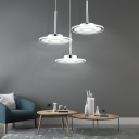 Polished Chrome Disc Pendant Light Contemporary Acrylic 1 Light Ceiling Pendant for Kitchen Dining Room