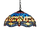 Down Lighting Tiffany Style 2 Light Ceiling Fixture with 16