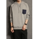 Guys Stylish Pocket Patched Chest Elbow Patched Long Sleeve Contrast Striped Relaxed Cotton Hoodie