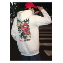Boys Fashion Monster Back Letter WISDOM GHOST Printed Long Sleeve Oversized Warm Hoodie