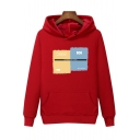 Letter PERFECT Patched Front Long Sleeve Regular Fitted Thick Warm Cotton Hoodie