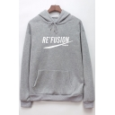 Sports Long Sleeve Letter RE FUSION Printed Kangaroo Pockets Unisex Drawstring Hoodie
