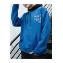Fashion Letter HAVE A NICE DAY Printed Long Sleeve Contrast Hood Loose Fitted Hoodie