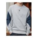 Trendy Patchwork Long Sleeve Crewneck Fashion Zip-Embellished Pullover Loose Casual Sweatshirt