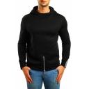 Men's New Trendy Split Zip-Embellished Hem Contrast Cuff Regular Fitted Hoodie