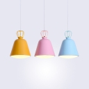 Macaron Colorful LED Cord Hanging Light Metal Triple Light Bucket LED Pendant Light for Kids