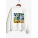 Hot Sale Long Sleeve Mock Neck Van Gogh Oil Painting Leisure Warm Pullover White Sweatshirt