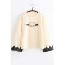Batwing Long Sleeve Round Neck Cartoon Pig Printed Leisure Relaxed Tee