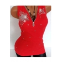 Women's Fashion Diamond-Embellished Chic Zip Closure V-Neck Sleeveless Fitted Tank Top